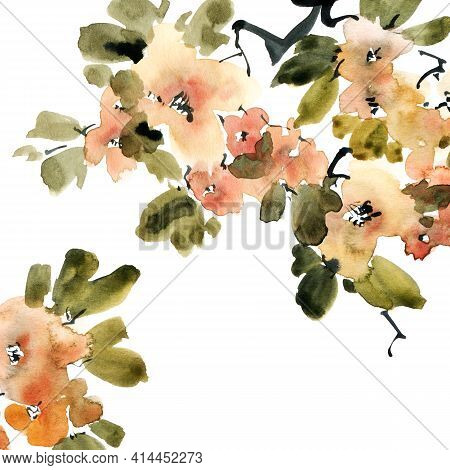 Watercolor And Ink Illustration Of Blossom Tree Branch With Flowers, Buds And Leaves. Oriental Tradi