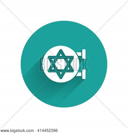 White Jewish Synagogue Building Or Jewish Temple Icon Isolated With Long Shadow. Hebrew Or Judaism C