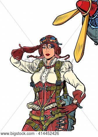 Female Retro Pilot. Professional Military Pilot Pop Art Retro Illustration