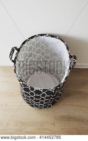 Black Fabric Storage Basket, For Linen, Toys, Vertical Photo