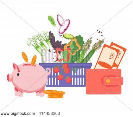 Money Saving And Good Buy Concept With Shopping Basket Full Of Food And Moneybox. Grocery Sale Promo