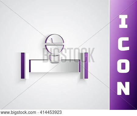 Paper Cut Industry Metallic Pipe And Manometer Icon Isolated On Grey Background. Paper Art Style. Ve