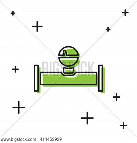 Black Industry Metallic Pipe And Manometer Icon Isolated On White Background. Vector