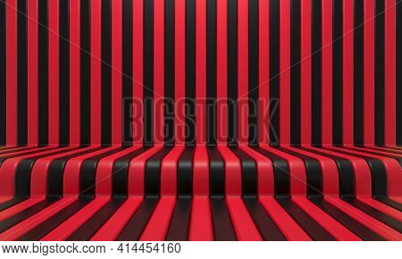 Realistic Abstract Geometric Background With Black And Red Convergence Stripes With Shadows And Glar