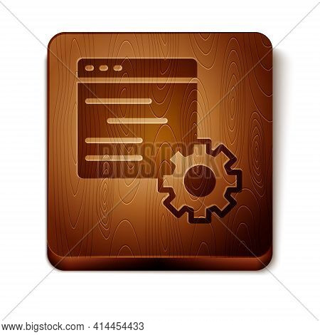 Brown Computer Api Interface Icon Isolated On White Background. Application Programming Interface Ap