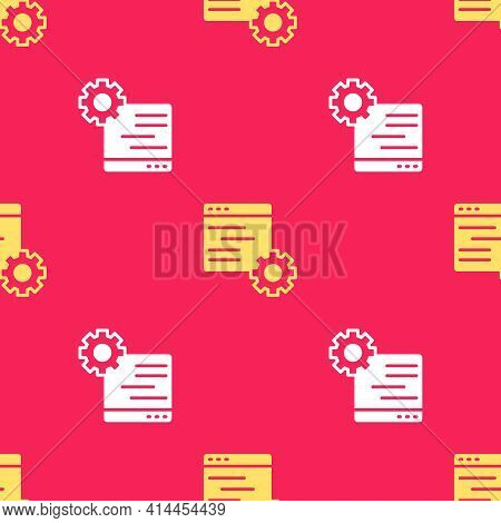 Yellow Computer Api Interface Icon Isolated Seamless Pattern On Red Background. Application Programm