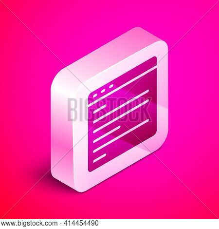 Isometric Computer Api Interface Icon Isolated On Pink Background. Application Programming Interface