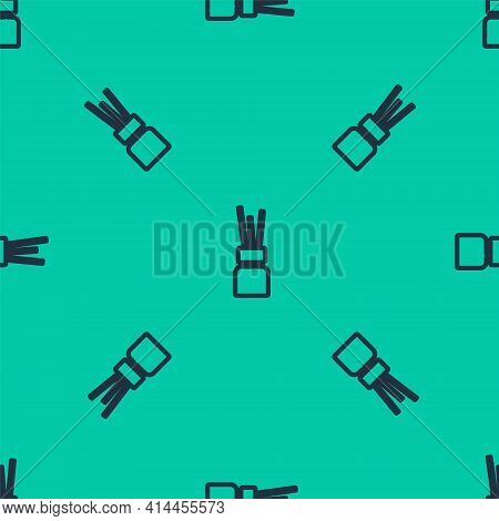 Blue Line Aroma Diffuser Icon Isolated Seamless Pattern On Green Background. Glass Jar Different Wit