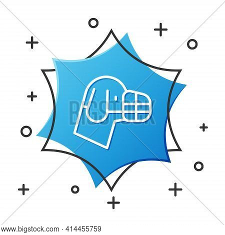 White Line Dog In Muzzle Icon Isolated On White Background. Accessory For Dog. Blue Hexagon Button.
