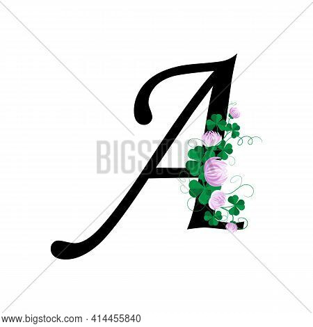 Letter A With Floral Design On White Background.
