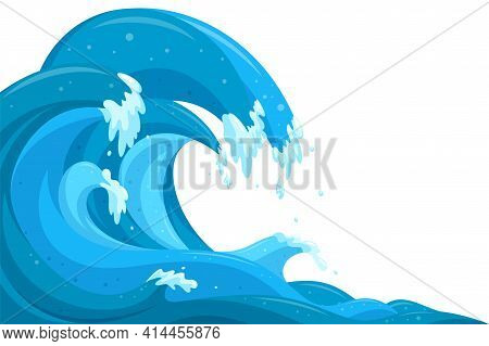Tsunami Waves Background. Flood Ocean Waves In Cartoon Style. Vector Illustration In White Backgroun