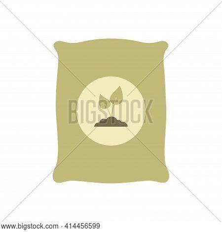 Plant Fertilizer Icon, Vector Illustration Bag Of Soil Isolated On White Background, Gardening, Farm