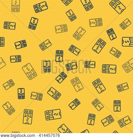 Blue Line Mobile Stock Trading Concept Icon Isolated Seamless Pattern On Yellow Background. Online T