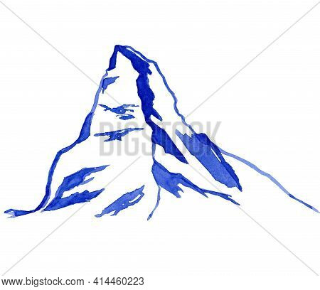The Matterhorn, Outline Of The Mountain. Watercolor Illustration Isolated On The White Background