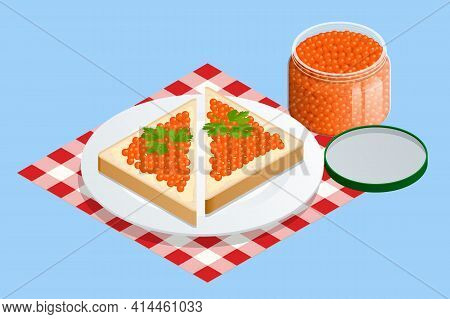 Isometric Salmon Red Caviar. Rye Bread With Butter And Red Caviar With Lemon And Dill As A Sandwich.