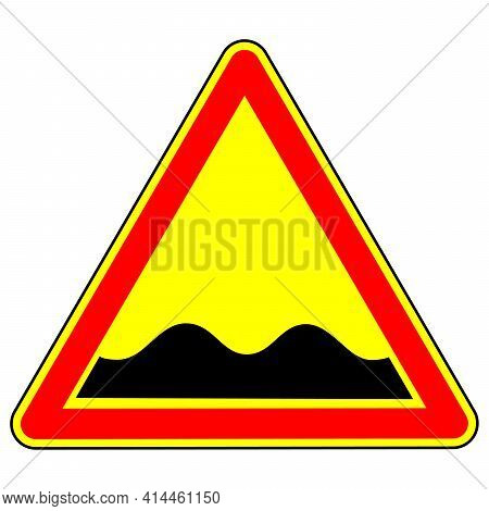 Warning Traffic Sign Pothole. Traffic Laws. Signs And Road Markings. The Isolated Object On A White