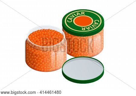 Isometric Salmon Red Caviar. Raw Seafood. Luxury Delicacy Food. Glass Jar With Red Caviar Of Pink Sa