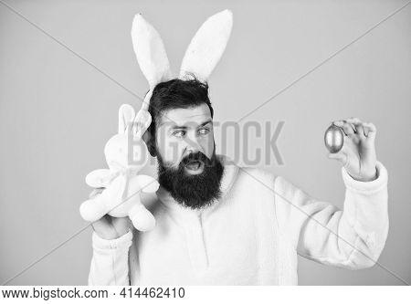 Easter Rabbit. Man Wearing Rabbit Suit. Funny Bunny Man Soft Ears. Easter Activities Concept. Weirdo