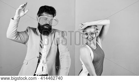 Couple Having Fun. Office Party. Celebrating Success. Dancing Together. Good Mood. Relax And Have Fu