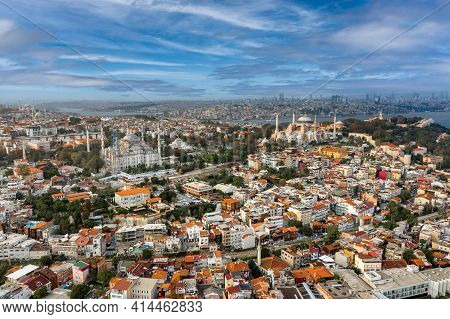 Aerial Wide Cityscape Of Istanbul From The European Side. Daytime Shot Bright Lighting With Both Res