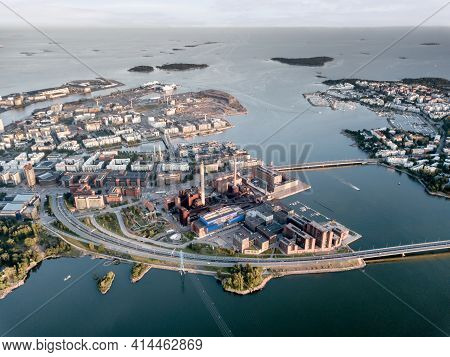 Industrial District Of Helsinki Finland With Processing Factory, Shipping Lanes, Highway And Ocean W