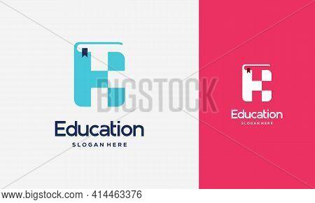 Flat Initial K Book Logo Design Concept Vector Illustration, Education Book Logo Symbol Template