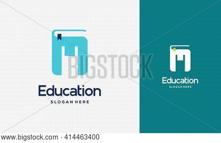 Flat Initial M Book Logo Design Concept Vector Illustration, Education Book Logo Symbol Template