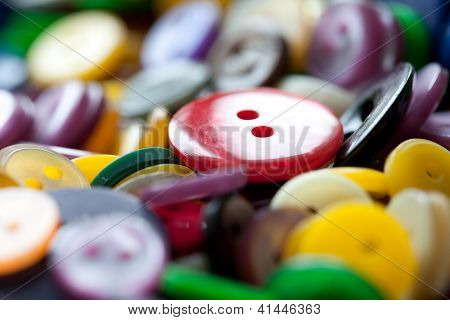 Red Textile Button