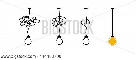 Complex Complicated Process Easy Solution, Simplify Problem,untangling Mess Knot In Simple Line, Sim