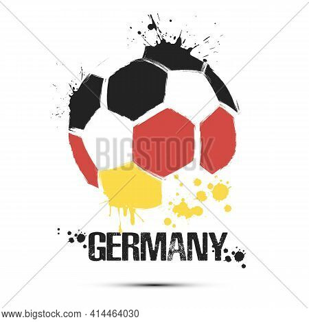 Soccer Ball With Germany National Flag Colors
