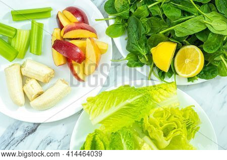 A Few Raw Ingredients Of Fruit And Vegetables For A Nutritious Smoothie.