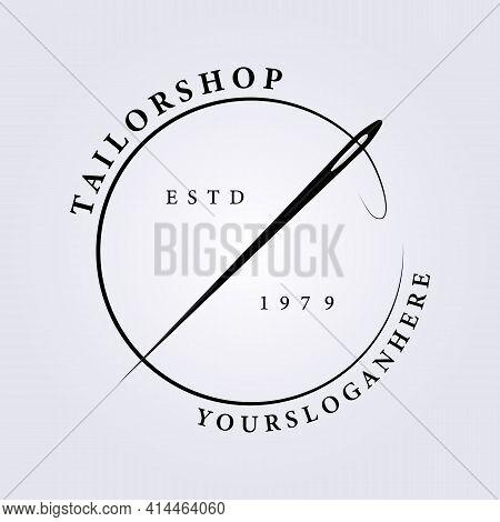Simple Tailor Shop Logo, Professional Seamstress Logo, Needle Vector Illustration Design