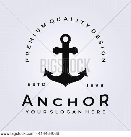 Elegant Anchor Icon Logo, Port Vector, Skipper Illustration Design , Vintage Style Logo