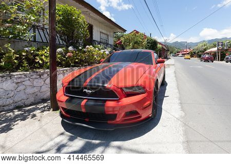 Panama Boquete March 26, Red Ford Mustang Gt Coupe Parked In The Town Center. Shoot On March 26, 202