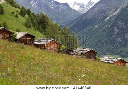 Some small mountain huts in South Tyrol, Italy