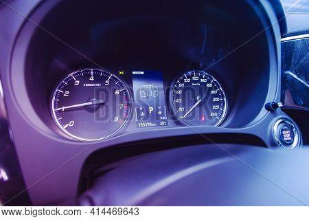 Novosibirsk, Russia - March 26  2021:  Mitsubishi Outlander,  Close Up Instrument Automobile Panel W