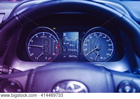 Novosibirsk, Russia - March 26  2021:  Toyota Rav-4,  Close Up Instrument Automobile Panel With Odom