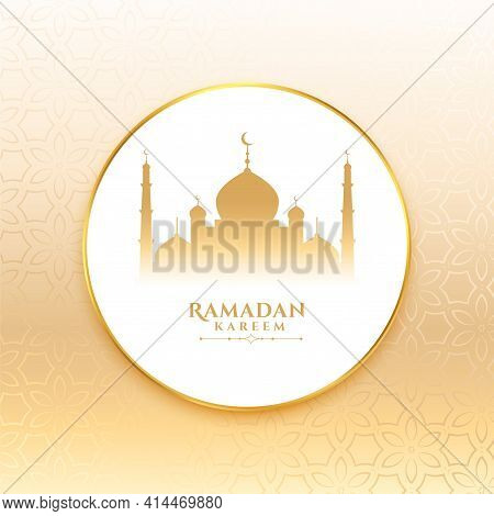 Ramadan Kareem Wishes Card With Mosque Design