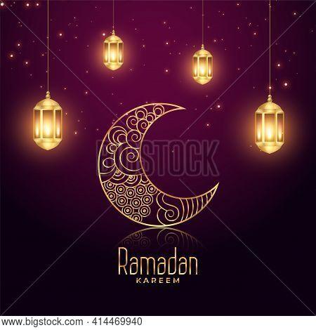 Ramadan Kareem Eid Festival Glowing Lamps And Moon Background