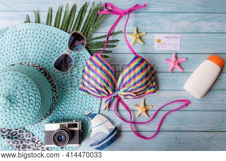 Summer Items Fashion Tourism Woman Swimsuit Bikini With Sunblock And Big Hat. Traveler Tour Pay Cred