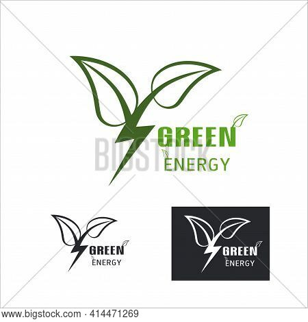 Green Power Thunder Energy Logo Design Element, Thunder Leaf Logo, Leaves Icon Vector, Creative Gree