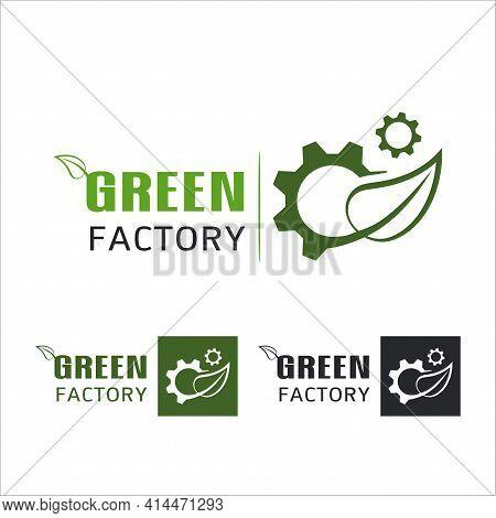 Green Factory Power Energy Logo Design Element,  Leaves Icon Vector, Creative Green Leaf Logo Concep