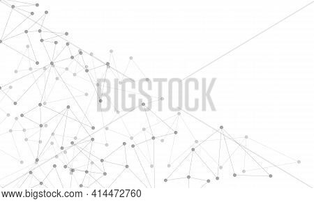 Abstract Grey Line Dot Connect Network Geometric On White With Blank Space Technology Futuristic Bac