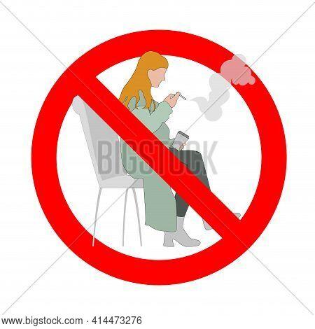 Prohibited Smoke For Woman, Banned Public Smoking, Women Forbidden Cigarette, Danger Habit, Prohibit