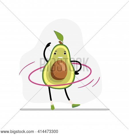 Avocado Sport With Gymnastic Ring. Avocado Happy And Health, Sport Vegetable Character, Fruit Food.