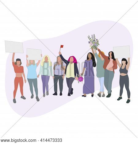 Women Protest And Demonstration, People With Card And Flowers, Cartoon Female Solidarity, Strike And