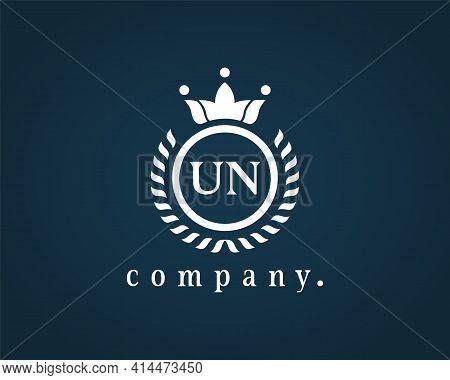 Letter U N, U Or N Elegant Crown Emblem. Calligraphy Laurel Wreath Crown Monogram. Royal Style Initi