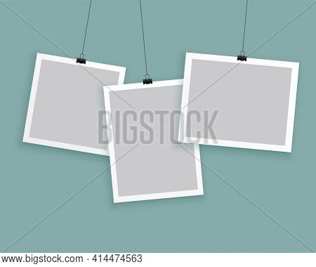 Hanging Photo Frames In Different Sizes Background