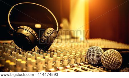 Headphone And Microphone And Audio Sound Mixer In Studio For Sound Control System And Recording Equi