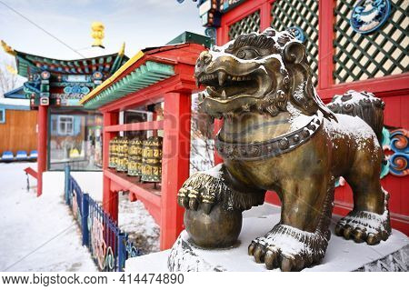 Lion Sculpture On The Territory Of The Ivolginsky Buddhist Monastery In Ulan-ude In The Republic Of
